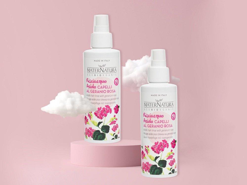 Risciacquo acido al geranio rosa Maternatura